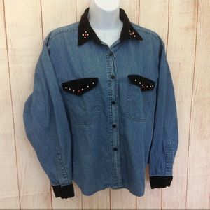 Vintage 90s Embellished Bedazzeled Shirt